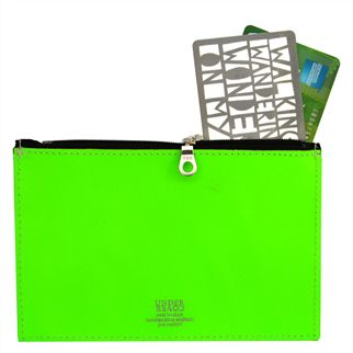 Fluoro Green Small Leather Wallet