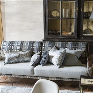 Brera Lino Zinc Plain Grey Linen Cushion | Designers Guild