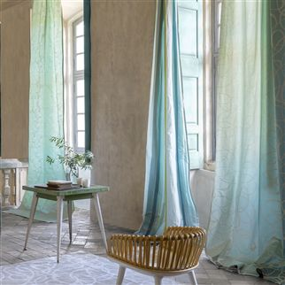 dauphine stripe - aqua Fabric
