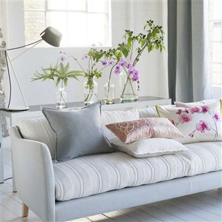 Brera Lino Alabaster Plain White Linen Cushion | Designers Guild