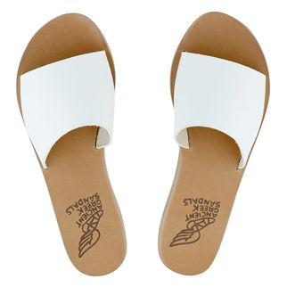 Ancient Greek Taygete White Leather Sandals