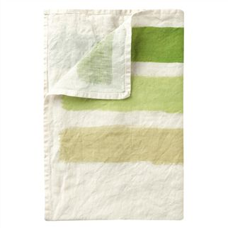 Hand Painted Green Stripe Table Cloth, Placemats & Napkins