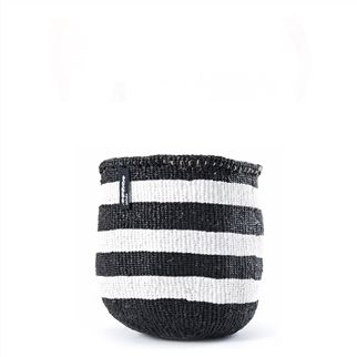 Black & White Small Thick Stripe Kiondo Basket