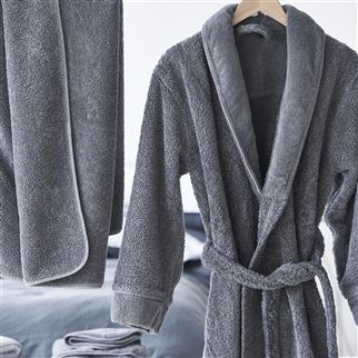 Spa Graphite Bath Robe | Designers Guild