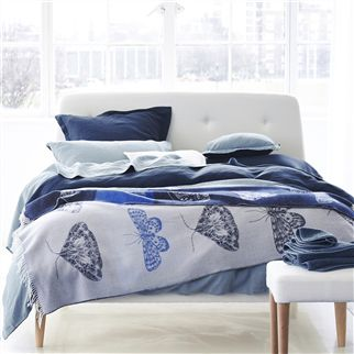 Biella Midnight & Wedgwood Blue Bed Linen | Designers Guild