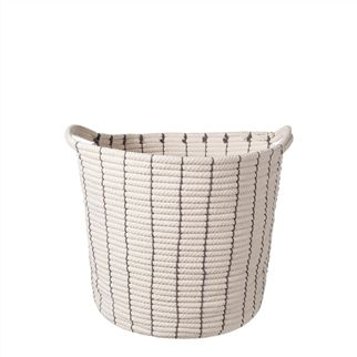 Ivory Handled Stripe Small Cotton Basket