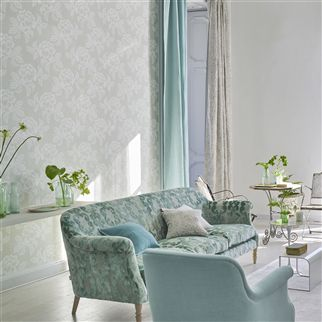 Brera Lino Pale Aqua Fabric | Designers Guild Essentials