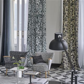 Reticello Graphite Fabric | Designers Guild