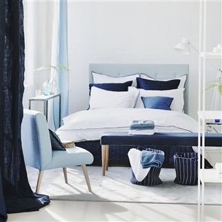 Astor Indigo Plain Cotton Bedding | Designers Guild