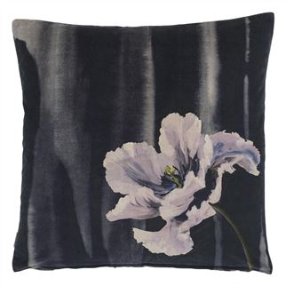 Delft Flower Noir Cushion - Reverse