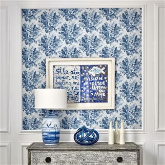 Perosita Indigo Wallpaper | William Yeoward