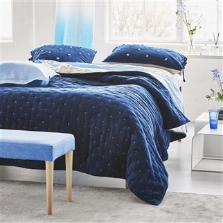 Sevanti Indigo Quilts & Shams | Designers Guild