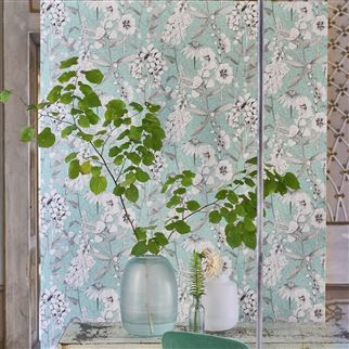 Emilie Aqua Wallpaper | Designers Guild