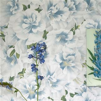 Variegated Azalea Swedish Blue Wallpaper | John Derian