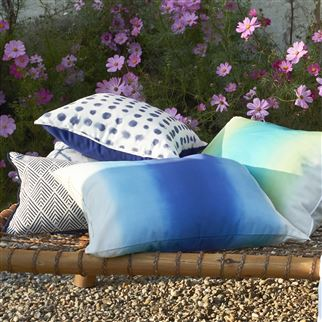 Savoie Cobalt Outdoor Ombre Blue Cushion | Designers Guild