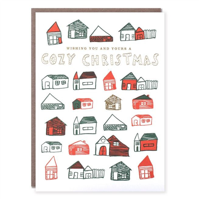 egg press pack of 8 cozy cabins christmas cards - How To Sign A Christmas Card