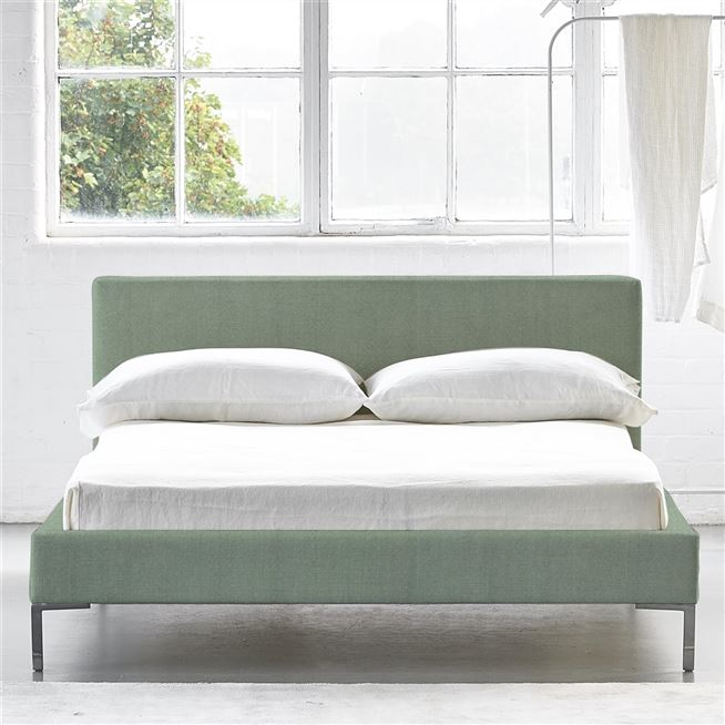 Square Low Superking Bed - Metal Legs - Brera Lino Jade