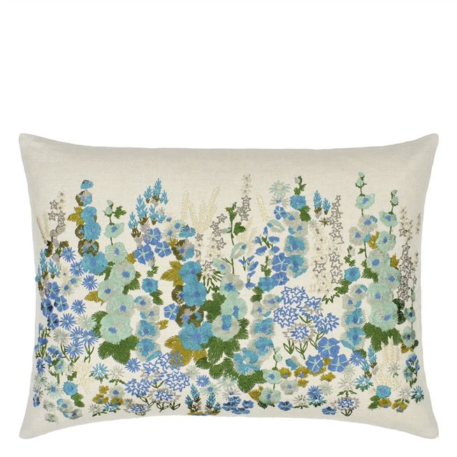Hollyhock Celadon Cushion