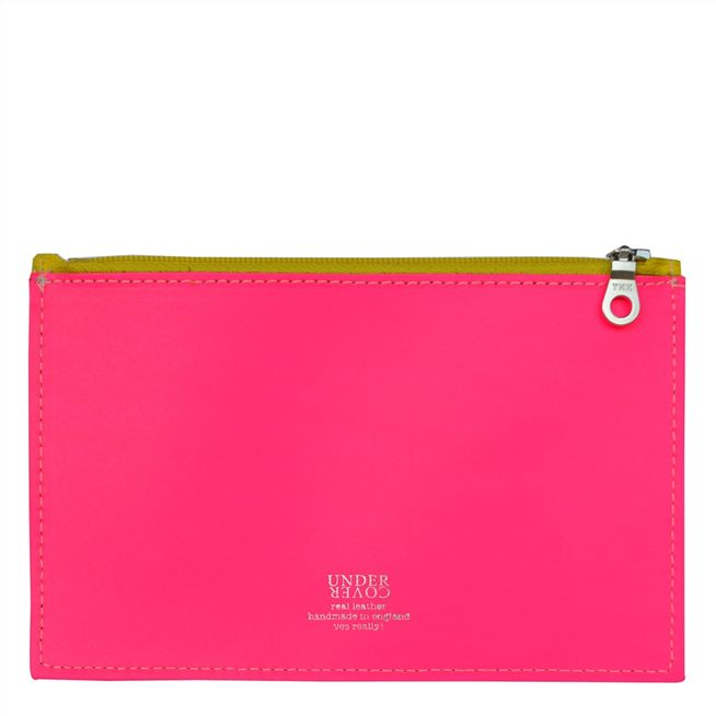 Fluoro Pink Small Leather Wallet