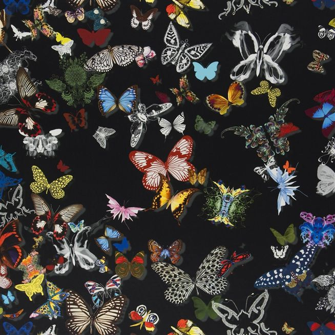 Butterfly parade oscuro fabric christian lacroix - Tissu christian lacroix ...