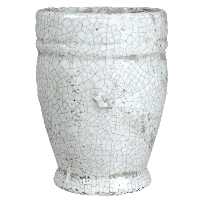 Small White Crackle Planter Pot