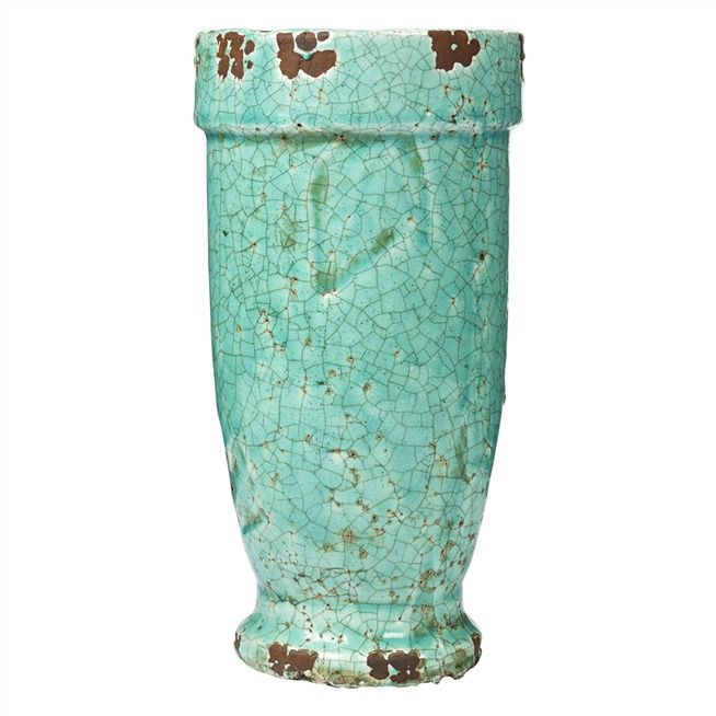 Tall Turquoise Planter Pot