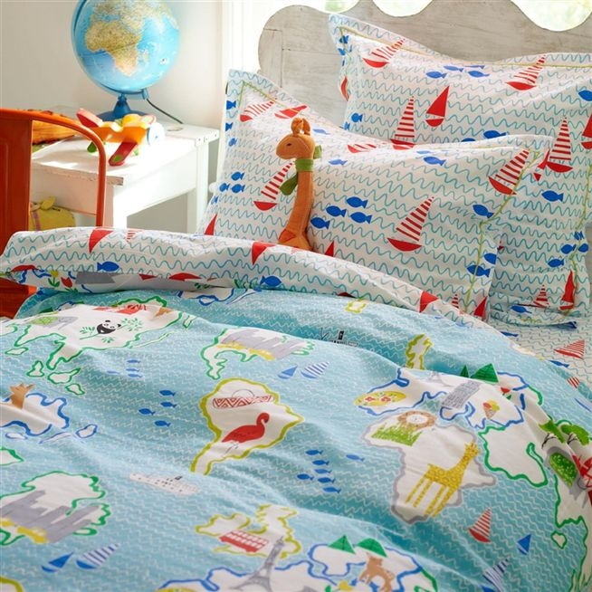 Around the world kids pillowcases designers guild kids around the world oxford pillowcase gumiabroncs Gallery