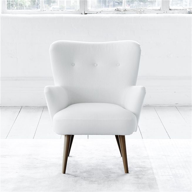 Florence Chair - White Buttons - Walnut Leg - Brera Lino Alabaster
